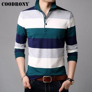 wholesale Long Sleeve T Shirt Men Striped Casual Streetwear Tshirt Soft Cotton Tee Shirt Homme Turn-down Collar T-Shirt Men 95012