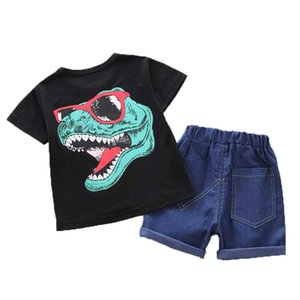 Summer Kids Clothes Boys Short Sleeve Cartoon Dinosaur Print Tops Blouse T-shirt+Denim Shorts Children Casual Outfits Sets