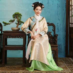 Ancient Chinese traditional costume for women elegant gown Qing dynasty long cheongsam dress Film TV princess performance stage wear