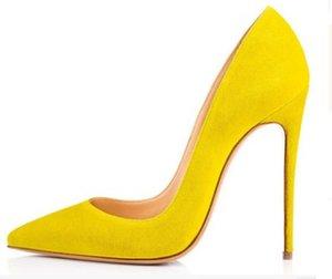 envío libre Talones inferiores del rojo alto atractivos de punta estrecha del pie roja de 8 cm 10 cm 12 cm bombas están realizadas con zapatos de boda bolsas Logotipo de polvo c22