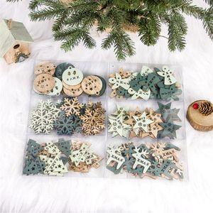 Weihnachtsschmuck Engel Elk Snowflake Holz Chip Weihnachtsbaum DIY hängende Anhänger Xmas Party-Dekor für Haus