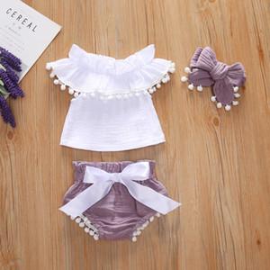 Çocuklar giysi tasarımcısı kızlar bebek yaz Yenidoğan Bebek Kız Omuz Lotus Yaprağı Kenar Fırça + Kelebek Düğüm Şort şort yürüyor kıyafetler B23