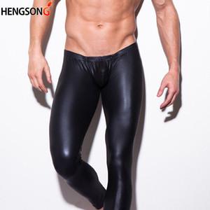 Hengsong Erkekler Seksi Tayt 2020 Moda İnce Kalemleri Siyah Sahte Deri Erkek Performansı Pant
