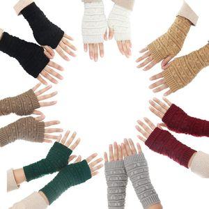 Fashion Autumn Winter Women Warm Gloves Wrist Arm Warmer knitting Wool Long Fingerless Mitten Female Guantes