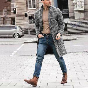 Mens di lana di inverno del cappotto nuovo modo lungo di arrivi di inverno degli uomini Hounstooth Gentlemen Cappotto lungo del rivestimento maschio Outwear