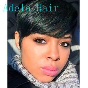 Afro curto pixie corte estilo peruca com franja cabelo humano em linha reta afro-americanos perucas para as mulheres