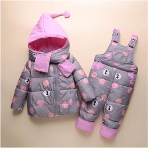 Childrens Designer Down Jacket di moda i bambini Marca Dot Stampa Imposta Bambino Spesso Zipper Set Down Jacket Top + i pantaloni della 2020 Autunno nuovo di vendita