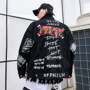 Uomini Giacca di jeans di Hip Hop High Street casuale allentata stampa Jean cappotto maschile Streetwear Rap Rapper Bomber Cappotti