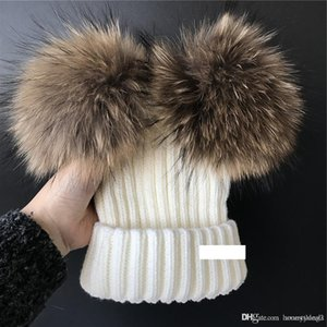 White -Woman's Girls Real Raccoon Fur Double 2 Pom Pom Ball Knitted Hat Beanie Cap