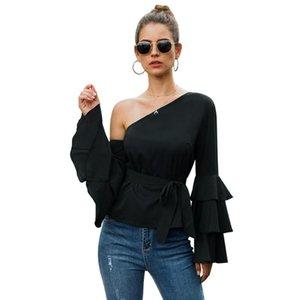 Sonbahar Siyah Skew Yaka Seksi Gömlek ve Bluz Kadınlar Ruffles Tam Flare Kol Kapalı Omuz Şık Slim Fit Bluz Bayanlar Tops