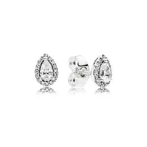 Drop Drop CZ Diamond Stud Pendiente de la caja original para Pandora 925 Pendientes de plata esterlina Set para mujeres Joyas de regalo de boda