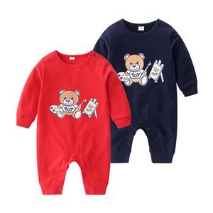 Yeni Bebek Rompers Bahar Sonbahar Erkek Bebek Giyim Yeni Romper Pamuk Yenidoğan Bebek Kız Çocuk Tasarımcı karikatür Bebek Tulumlar Giyim