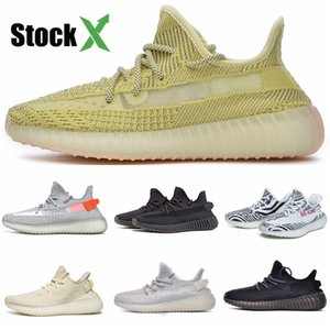 2020New Black Leather Fabric Sneakers Top Quality Designer Low Top Shoes Casual Kanye West Style Race Runner Mesh Breathable Flats 802 #DSF300