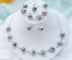 Jewelryr perles d'eau douce Collier perle baroque noir naturel Bracelet Boucles d'oreilles Bague Livraison gratuite