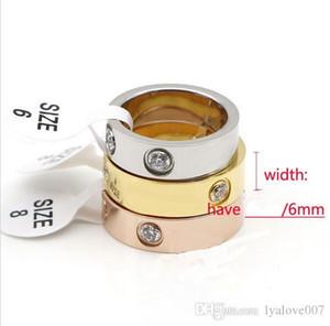 Kadınlar Erkekler takı Çiftler Taşlı Alyans Logo Bague Femme 6mm için sıcak satış Titanyum Paslanmaz Çelik Aşk Rings