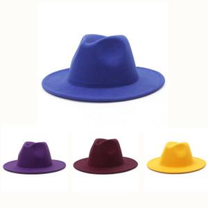 Womens Felt Hat Fedoras Winter Wide Brim Hats Autumn Fashion Church Mens Flat Top Trilby Jazz Hat