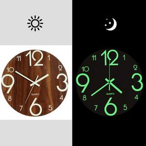 Sıcak -Luminous Duvar Saati, Kapalı / Açık Living Room için 12 İnç Ahşap Sessiz Sigara -Ticking Mutfak Duvar Saati ile Night Lights