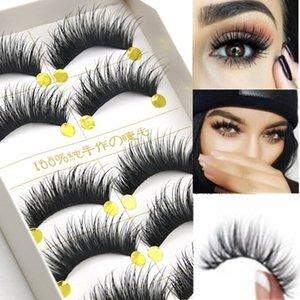 capelli visone 3D falso ciglia naturali / spessore lungo il ciglio sottile linea trucco di bellezza di estensione grandi occhi