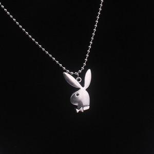 2020 Nuovo sveglio semplice dell'orecchio collana delle donne Playboy uomini di moda lungo sfera in acciaio inossidabile in rilievo collane della catena Collier Femme