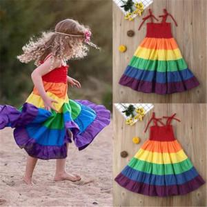Livraison gratuite enfant en bas âge Enfant Bébé fille arc-en-Pageant Princess Party Dress Sundress vêtements colorés 9M-7 ans de style soeur