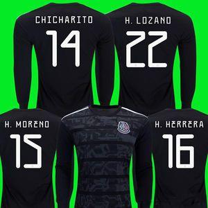 Manga larga de la Copa Oro 2019 México manga larga camiseta de fútbol CHICHARITO LOZANO GUARDADO DOS SANTOS 2019 completo de la manga VELA Layun las camisas del fútbol