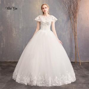 weiyin mariage veste 2018 abiti da sposa in pizzo degli abiti di sfera senza maniche da sposa Appliques Corpo Reale Immagine Vestido De Noiva WY987