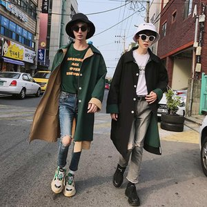 2019 Spring And Summer New Korean Version Of The Tide Simple Couple Campus Wind Double-sided Loose Casual Long Trench Coat