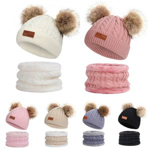 2020 Baby Stuff Accessories Baby Kids Winter Outdoor Chunky Fur Pom Pom Cute Beanie Hat Knitted Scarf 2Pcs Set 1-11T