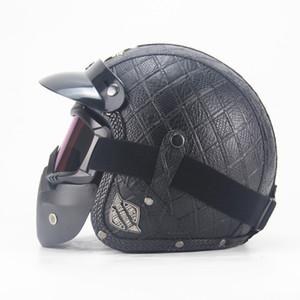 Мотокросс Шлем маска Съемные очки и рот фильтра Идеально подходит для Open Face Motorcycle Half Helmet Vintage касок