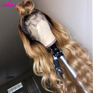 1BT27 Ombre Body Wave Human Hair Lace Wigs For Women Brazilian Remy Human Hair Wigs Pre plucked Bleached Konts Ali Coco