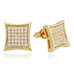 Hip-Hop-voll Ohrstecker Diamanten für Männer Strass Geometrie Goldbolzenohrringe reales Gold überzogenes Kupfer Diamant-Quadrat Schmuck