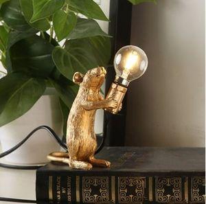 테이블 침대 옆 침실 장식 luminaria 테이블 골드 화이트 컬러 바디 수지 마우스 테이블 램프기구 LLFA에 대한 북유럽 디자인 마우스 램프