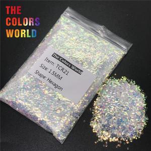 TCR21 Iridescente Arco-íris Branco Com Ouro Colorido Luz Hexagon Forma Glitter Nail Art Decoração Corpo Glitter Sombra de Olho DIY