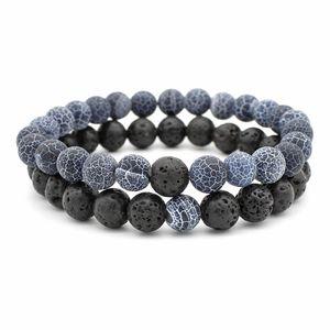 8MM Naturel Pierre perles Couple bracelets Ensemble Pour les femmes Mens Lava Rock Agate Oeil De Tigre Huile De Diffuseur charme charme Bracelet DIY Bijoux En Vrac
