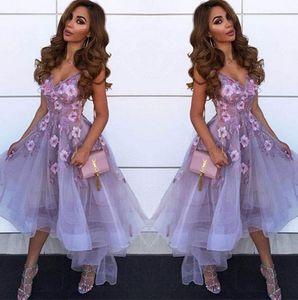 Лаванда V шеи тюль A Line Homecoming платье 2019 Arabic Lace аппликация Высокая Низкая принцесса Короткие Пром партии Выпускные платья