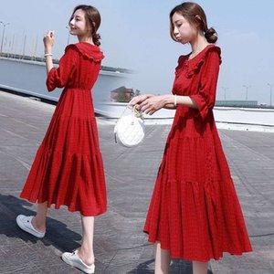 Lungo Donne pannello esterno di estate 2020 nuova versione coreana del temperamento esposizione della vita sottile chiffon Doll Dress Red Super Fata Collare Gonna