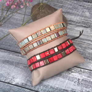 eccellente colore della miscela di moda Pietre naturali 2 fili Wrap Bracciali Boemia Vintage Beadwork Bracciale Dropshipping