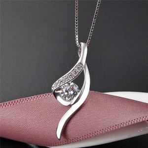 Zarif katı gümüş kristal kadın charms kolye toptan basit kübik zirkon S925 gem kolye DIY takı bulguları