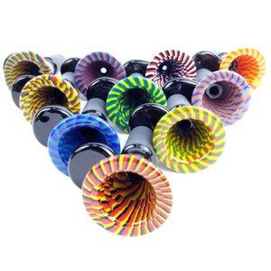 Nouvelle 14mm mâle perruque Wag bols en verre avec poignée colorée Smoking Piece Bong Fourneaux de pipes en verre tabac eau Bongs Dab Rigs