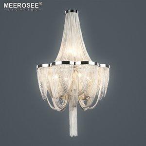 Современный Современный Silver Люстра Light итальянский кисточкой алюминиевый Цепь Подвеска Свет подвесной светильник для гостиной Фойе Home Decor Light
