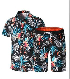 Leaves Floral Summer Mens Designer Tracksuits Lapel Neck With Short Sleeve Top Loose Shorts With Belt Holiday Summer Vacation Mens 2PCS
