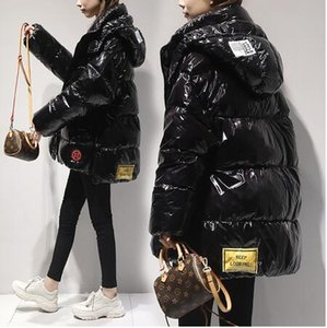Alta calidad brillante abajo Parkas abrigo chaqueta de invierno para mujer caliente con capucha abajo chaqueta rojo/negro brillante invierno blanco pato abajo abrigos