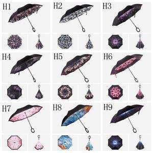 Creative Inverted parapluies arrière coupe-vent Parapluie avec C Poignée double couche Inside Out de style parapluies en parachute évasé 150 DHA274