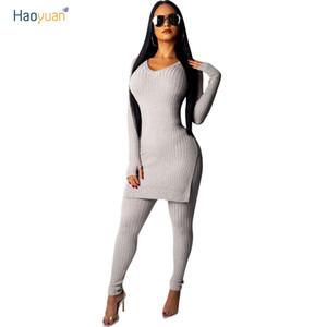 HAOYUAN осень Женская одежда спортивный костюм трикотажные кофты повседневная зима вязать из двух частей набор топы и брюки спортивные костюмы для женщин