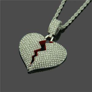 Mode New Broken Heart Ice collier pendentif amour charme cristal strass or et d'argent hommes et les femmes Hip Hop Bijoux