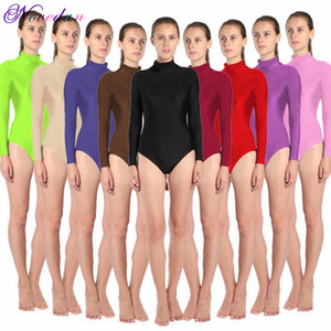 Femmes manches longues col haut Ballet Léotard col roulé métallique brillant Danse Bodysuit Gymnastic Leotard Unitard Adult Dancewear