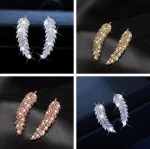 Sıcak satış 3 renk seçimi Altın Gümüş Rose Gold Zirkon Yaprak Küpe Twinkle lüks kristal Yaprak Küpe kadın Sevgililer Günü hediyesi