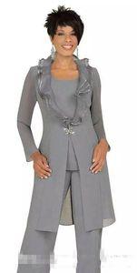 2020 Grey Chiffon Mãe dos ternos noiva calça com casaco longo Custom Made baratos Mulheres Convidado de Casamento Vestidos Outfits