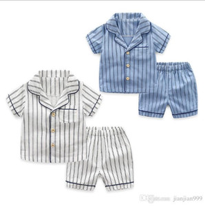 Çocuk Pijama Takımı 2019 Yeni Erkek Kısa Kollu Pijama Pantolon Çocuk giyim Bebek Bebek Pamuk Ev Hizmeti Yaz