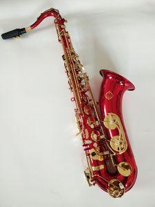 Brand New Real Musical Instrument Suzuki Bb di tenore di alta qualità Sassofono Ottone rosso dorato Gold Key Sax con boccaglio libero